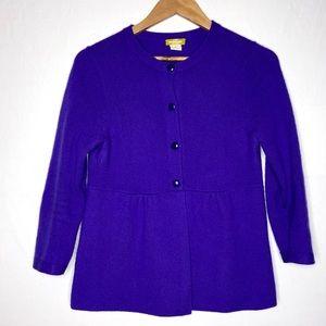 J Crew Buonissima 100% Cashmere Purple Sweater M